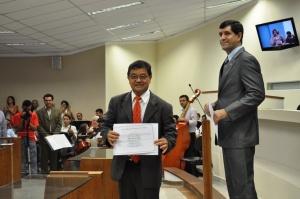 Prefeito reeleito Sergio Yasushi Miyashiro e o Vice- prefeito Sérgio Batista