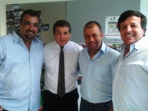 Da esquerda para a direita, Presidente da Comissão Provisória do PMDB de Peruíbe,  Márcio Pernice, Deputado Jorge Caruso, Mauro Vitturi Filho e vereador Rafael
